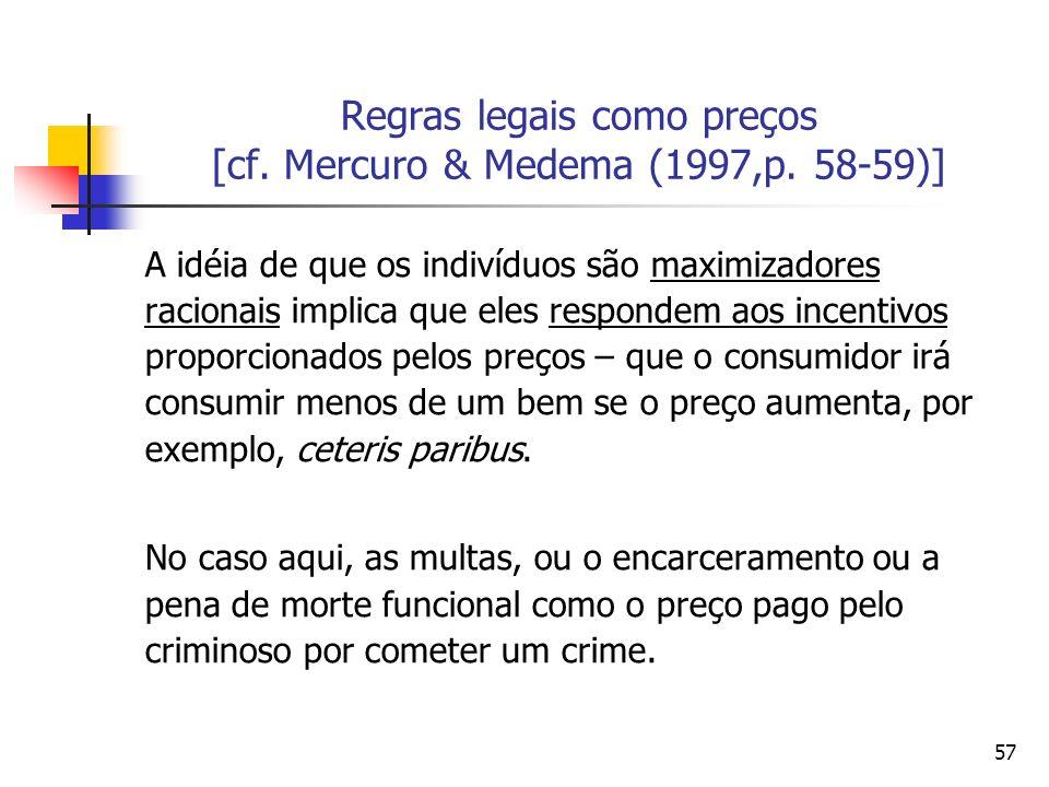 Regras legais como preços [cf. Mercuro & Medema (1997,p. 58-59)]